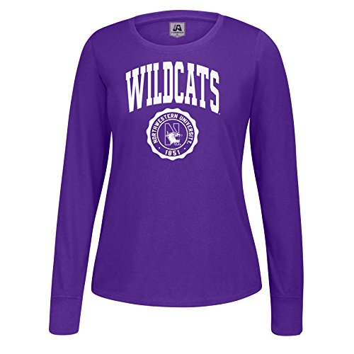 J America NCAA Northwestern Wildcats Women's Athletic Seal Long Sleeve Essential Tee, Medium, Purple
