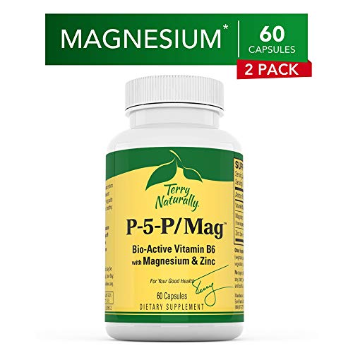 Terry Naturally P-5-P/MAG (2 Pack) - 60 Vegan Capsules - Vitamin B6 (Pyridoxal-5-Phosphate), Zinc & Magnesium Supplement, Supports Heart Health - Non-GMO, Gluten-Free, Kosher - 120 Total Servings (Best Magnesium For Heart Health)