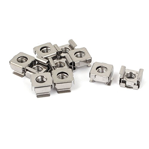 uxcell M6 x 1mm Pitch 304 Stainless Steel Cage Nuts 10 Pcs for Sever Shelves Cabinet (Steel Stainless Nuts Cage)