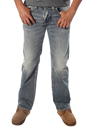 Silver Jeans Co. Men's Zac Relaxed Fit Straight Leg Jeans With Flap - Flap Denim Pocket