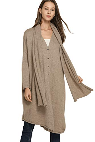 Women's Winter Long Cardigan Open Front Sweater Cashmere Wool Sweater Cardigan Set with Scarf (One Size, Camel)