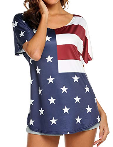 USA Flag Shirt for Women Summer Stars and Stripes Printed T-Shirt Tops Blue,L