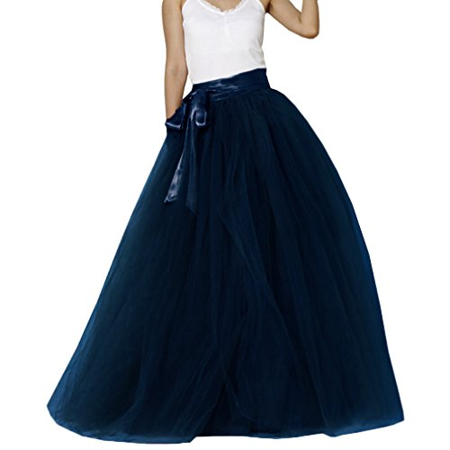 Lisong Women Floor Length Bowknot Tulle Party Evening Skirt 4 US Navy Blue