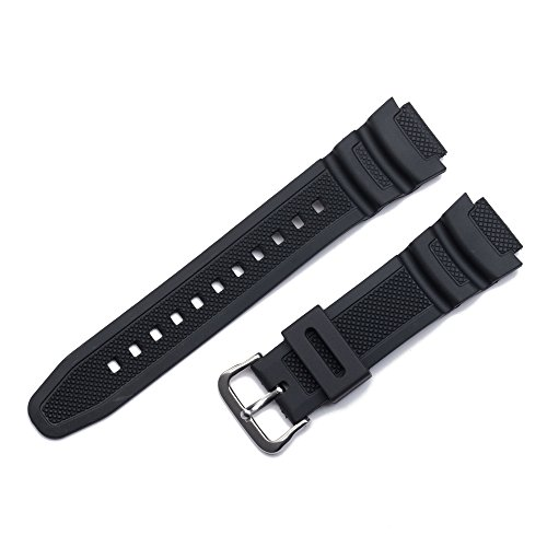 Replacement Watch Band 18mm Black Rubber Strap for Casio AE-1000w AQ-S810W SGW-400H/SGW-300H