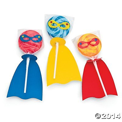 Fun Express - Superhero Swirl Pop Set - Edibles - Sucker & Pop - Swirl & Twist Pops - 12 Pieces -