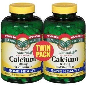 Spring Valley - Calcium 600 mg avec vitamine D, Twin Pack, 500 Comprimés