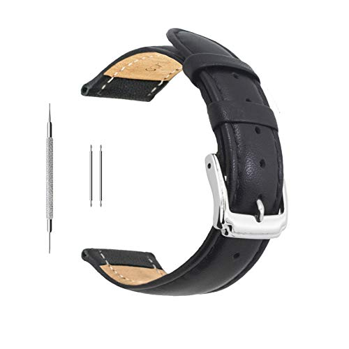 Berfine 20mm Black Calf Leather Watch Band Replacement,Extra Soft Watch Strap for Men Women (Leather 20 Band Mm Watch)