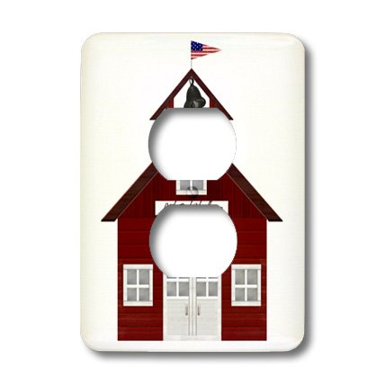 3dRose lsp_25990_6 Little Red Schoolhouse 2-Plug Outlet Cover