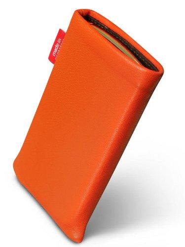 fitBAG Beat Orange Handytasche Tasche aus Echtleder Nappa mit Microfaserinnenfutter für Apple iPhone 1G
