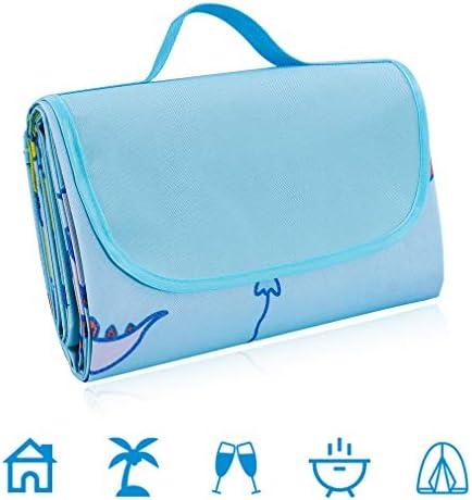 Pahajim Picknickdecke Wasserdicht Campingdecke Outdoor Stranddecke Picknickdecke mit Tragbarem Griff Reisen, PVC-Material Tragbar (hellblau)