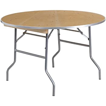 Amazon flash furniture 48 round heavy duty birchwood folding flash furniture 48 round heavy duty birchwood folding banquet table with metal edges watchthetrailerfo