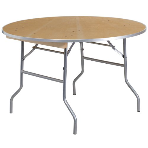 Flash Furniture 48'' Round HEAVY DUTY Birchwood Folding Banquet Table with METAL Edges ()