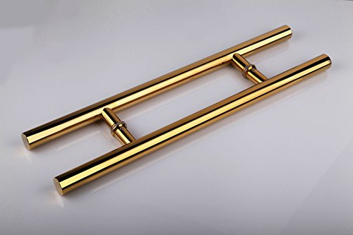 Brass Double Handle Shower - Togu TG-6012 450mm/18 inches Round Bar / H-shape/ Ladder Style Back to Back Stainless Steel Push Pull Door Handle for Solid Wood, Timber, Glass and Steel Doors, PVD Gold Finish Finish