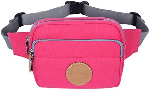 Eshow Women's Canvas Travel Sports Waist Pack Outdoors Running Climbing Fanny Pack Waist Bag