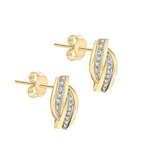 Pavé Privé Chaîne Femme Or jaune 14carats Diamant rond blanc Boucles d'oreilles clous entrelacés