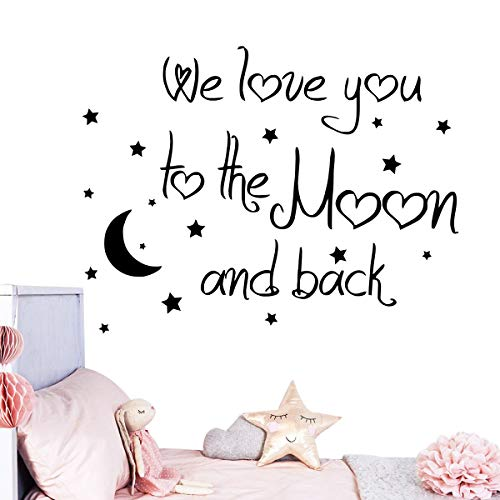 Melissalove Lovely Baby Nursery Wall Decal Quote We Love You to The Moon and Back Home Decor Stickers LA757 (Black)
