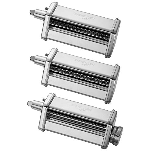 3-Piece Pasta Roller/Cutter Set Attachment fits KitchenAid Stand Mixers,Stainless Steel,Mixer...