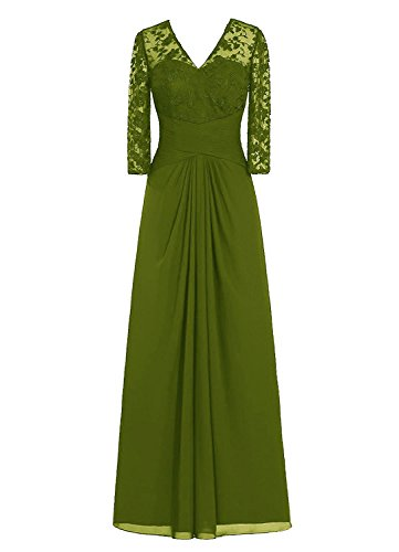quined Mother of the Bride Prom Dress V Neck with 3/4 Sleeve Olive 6 (Sequined Applique V-neck Dress)