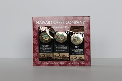Hawaii Coffee Company 10% Kona Gourmet Gift 3-Pack