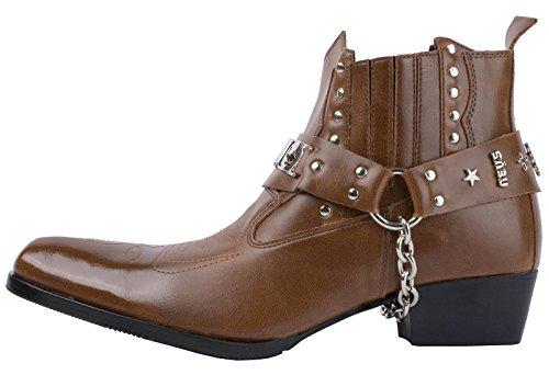 Mens Förskönat Sele Västra Cowboy Boots Brown