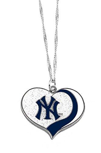 aminco New York Yankees MLB Sports Team Logo Charm Gift Glitter Heart Necklace ()