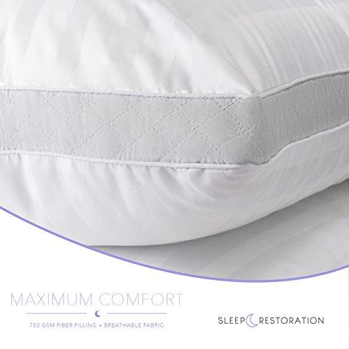 Sleep Restoration 1800 Series Gusset Gel Pillow - (2 Pack Queen) Plush Cooling Gel Fiber - Hypoallergenic & Dust Mite Resistant