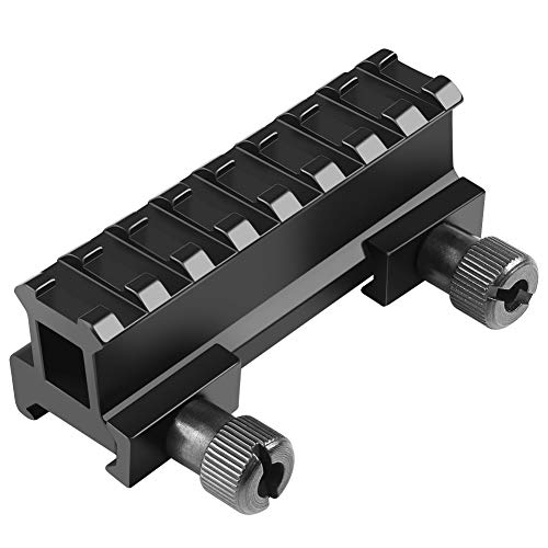 Fyland 1'' Picatinny Riser Mount w/See Through Hole for Scopes and Optics, 3.3'' Long, 8 Slot