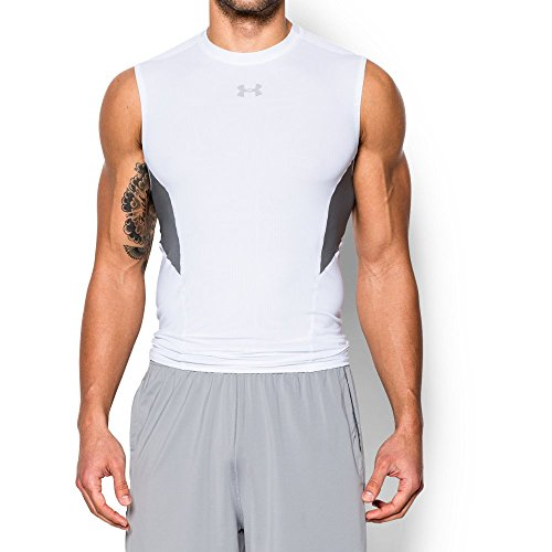 Under Armour Men's CoolSwitch Sleeveless Compression Shirt, White/Graphite, X-Large