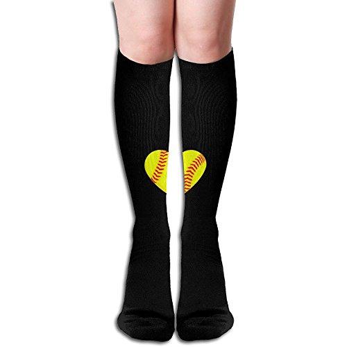 I LOVE SOFTBALL HEART BlackRed Knee High Socks Compression Team Sport Socks For Men And Women,19.6inch (Gold Leg Pro Guards)