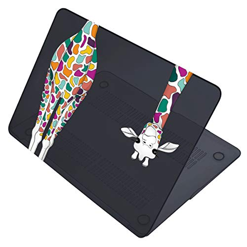 Maychen MacBook Air 13 Inch Case A1466 A1369 Old Version 2010 2017 Release, 3 in 1 Keyboard Cover + Screen Protector Matte Plastic Hard Shell Case for MacBook Old Air 13 - Black Colorful Giraffe