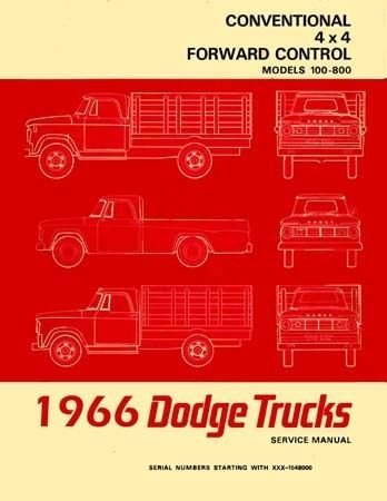 - 1966 DODGE TRUCK FACTORY REPAIR SHOP & SERVICE MANUAL - INCLUDES: 100, 200, 300, 400, 500, 600, 700, 800, D, P, S, W, Pickup, Panel, Forward Control, School Bus and Power Wagon, 4 x 2, 4 x 4 Trucks. 66