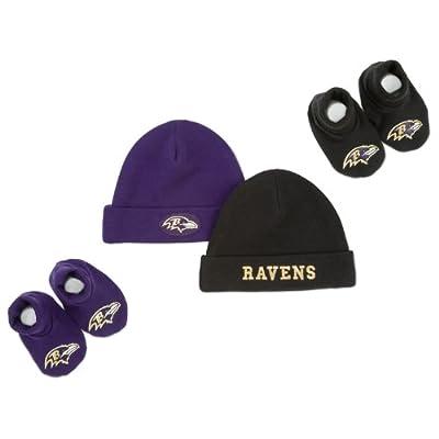 NFL Baltimore Ravens Infant Clothing Set, 4-Piece, 2 Caps & 2 Booties