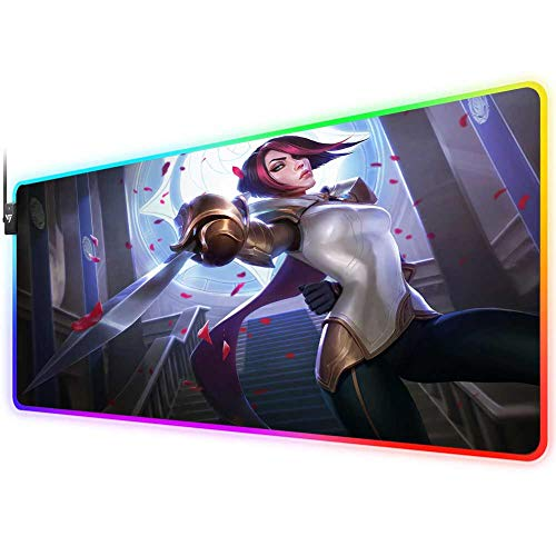 RGB Gaming Mouse Pad for League of Legends,LED Soft Extra Extended Large Mouse Pad,Anti-Slip Rubber Base,Computer Keyboard Mouse Mat 31.5 X 12 Inch(Fiora)