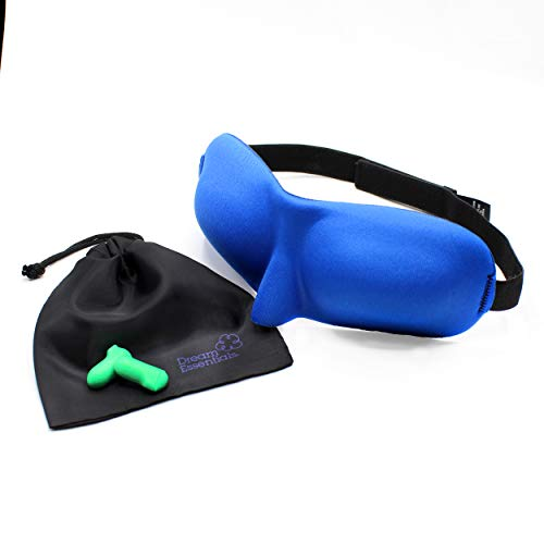 Dream Essentials Sweet Dreams Contoured Sleep Mask with Earplugs and Carry Pouch, Royal Blue