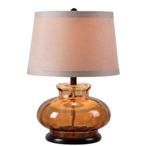Kenroy Home 32318BRN Alamos Table Lamp, Brown Glass Finish (Brown Glass Table Lamp)
