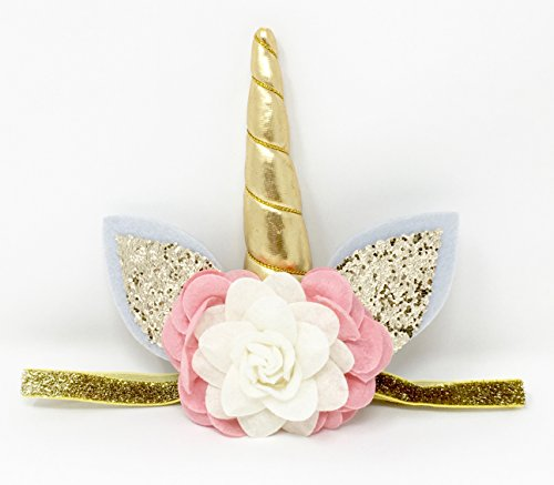 Unicorn Horn Costume Headband (PoshPeanut Unicorn Childrens Party Hat Horn Glitter Elastic Headband Spiral Unicorn Horn Cosplay (Pink/White))