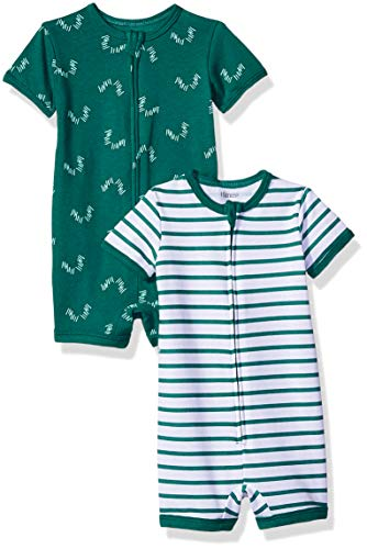 Hanes Ultimate Baby Zippin 2 Pack Rompers, Green Stripes, 12-18 Months (Best Toys For 15 Month Boy)