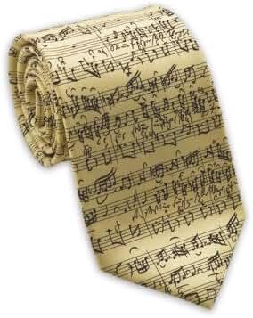 Josh Bach Mens Music by JS Bach Silk Necktie Cream, Made in USA