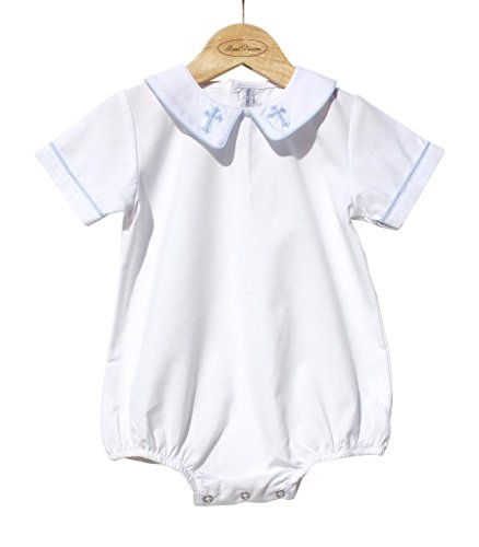 Sweet Dreams Baby Boys Christening Baptism Bubble Outfit With Blue Cross On Collar- Size 3-6 Months
