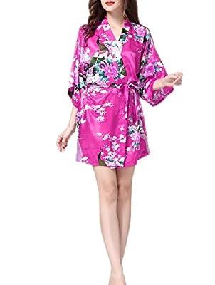 SexyTown Women's Kimono Robe - Peacock & Blossoms Short Style