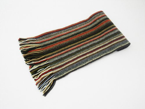 Oxfords Cashmere 2 Ply Pure Cashmere Men's Stripe Scarf, Red-One Size by Oxfords Cashmere