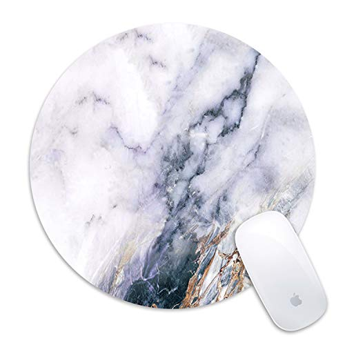 Mouse Pad,Galdas Classic White Marble Customized Mousepad Round Rubber Base Cloth Mouse Pads for Computers Laptop (Updated Version)