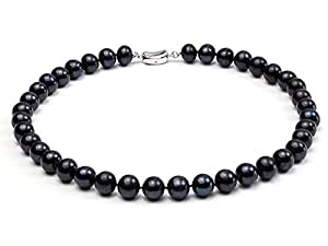 JYX Classic 8-9mm Round Black Freshwater Cultured Pearl Necklace 18""