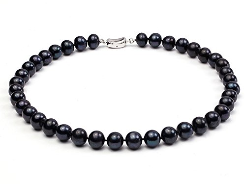 Black Freshwater Cultured Pearl Necklace - JYX Classic 10-11mm Round Black Freshwater Cultured Pearl Necklace 18""
