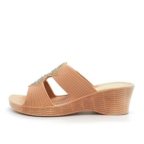 London Footwear - talón abierto mujer Beige - beige