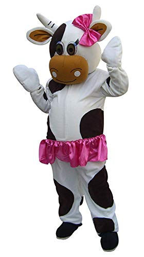 Diary Cow Mascot Costume for Adult Women Girls with Built - in Fan for Height 5'7