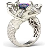 Mermaid Jewelry 925 Silver Aquamarine Mysterious Rainbow Wedding Ring Size 6-10 (10)