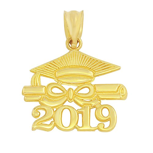 10k Yellow Gold Diploma & Cap Charm 2019 Graduation Charm Pendant