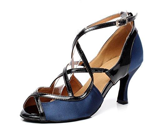 Minitoo QJ6180 Women's 3 Inches Heel Satin Ballroom Latin Dance Sandals Blue