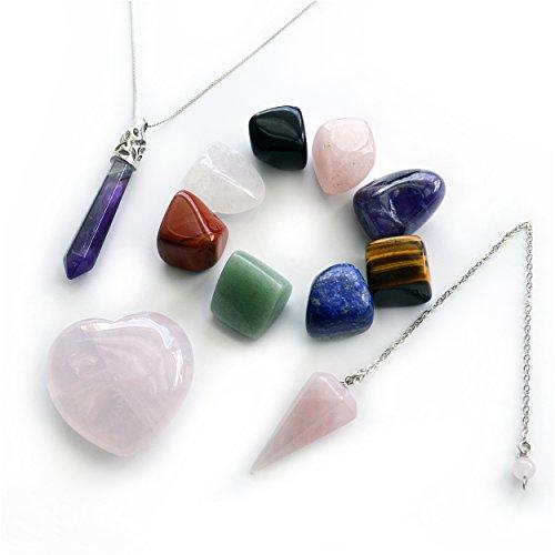 4 Products Bundle: 8-PCS Tumbled Healing Crystal Chakra Stones, 1-PCS Rose Quartz Heart, 1-PCS Rose Quartz Pendulum, and 1-PCS Pointed & Faceted Amethyst Necklace Pendant